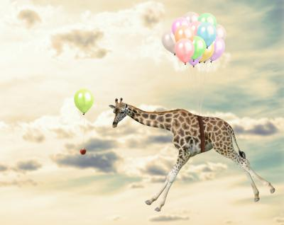 Naklejka Latająca żyrafa