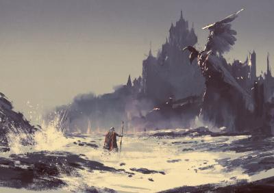 Obraz Fantazja zamku w tle