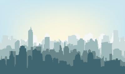Fototapeta Morning city silhouette