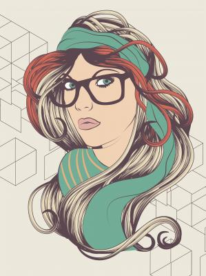 Plakat Sexy hipster girl with hipster glasses fashion illustration