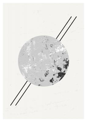 Abstract composition with textured round shape in black gray and white