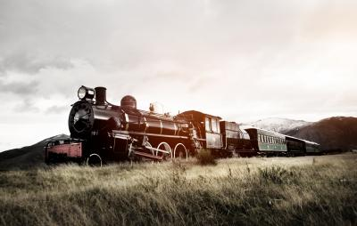 Fototapeta Steam Train In A Open Countryside Transportation Concept