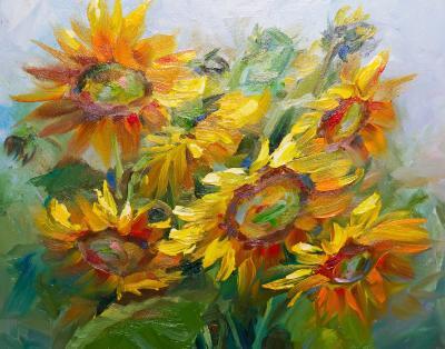 Obraz Texture oil painting sunflowers
