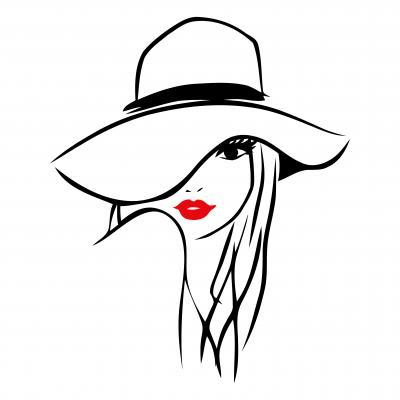 Obraz Illustration of a long hair girl wearing a big floppy hat