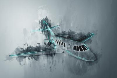 Obraz Water color painting of a corporate jet