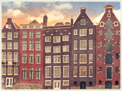 Digital watercolour of historic merchant houses in amsterdam