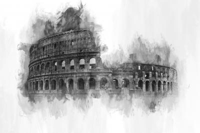 Obraz Watercolor painting of the exterior facade of the Colosseum