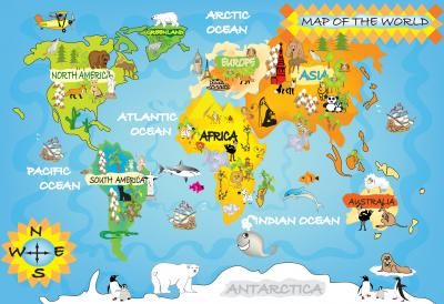Fototapeta Kids world map