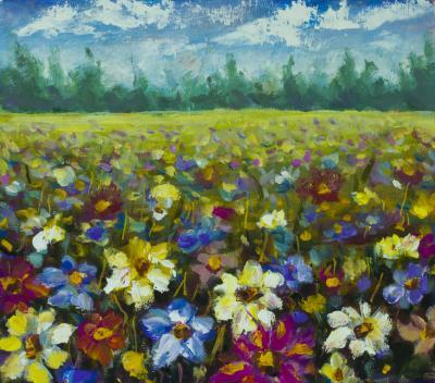 Obraz Flowers field oil painting
