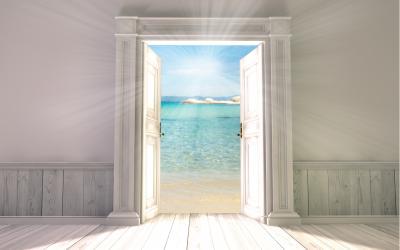 Fototapeta 3d rendering the empty room with opened door