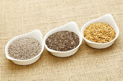 Fototapeta white and brown chia and golden flax seed