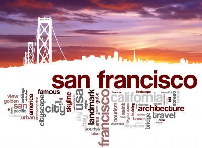 Obraz San Francisco city skyline and word cloud