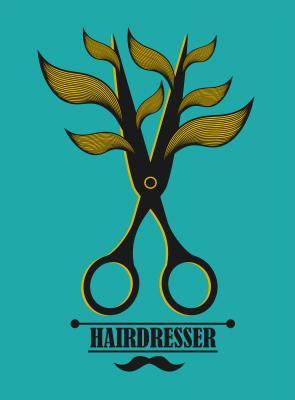 Plakat Vintage label for hairdresser and barber with scissors