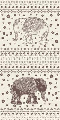 Fototapeta Seamless hand drawn map with Elephant