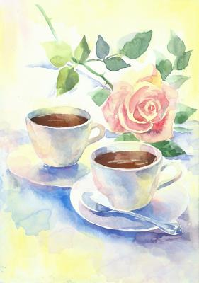 Obraz Romantic breakfast with coffee and a pink rose Hand Painted Watercolor Illustration