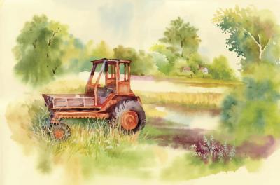 Obraz Watercolor tractor Machine in yard