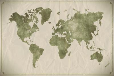 Watercolour world map on aged crumpled paper background