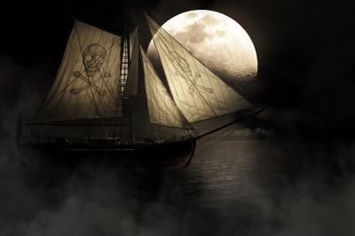 Evil haunting and mysterious image of a ghostly ship