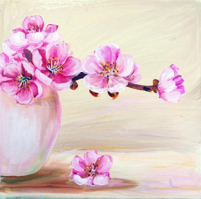 Obraz Sakura flowers in vase Oil painting
