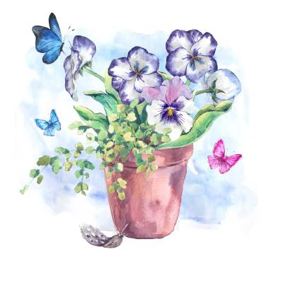 Obraz Watercolor Garden Spring bouquet in flower pots