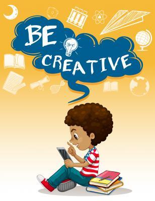 Plakat Little boy reading books illustration