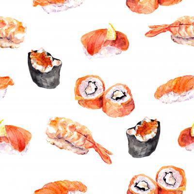 Fototapeta Sushi roll gunkan seamless pattern Watercolor sea food