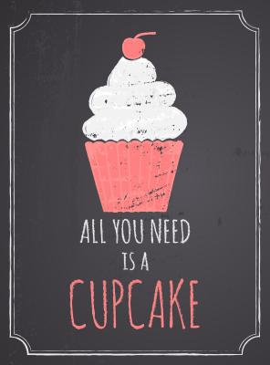 Chalkboard style poster with cupcake