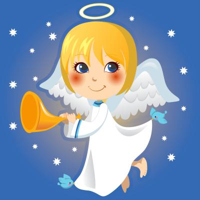 Obraz Cute little angel Gabriel announcing with a trumpet the arrival of Christmas