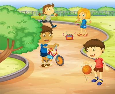 Fototapeta Illustration of a kids playing in the garden