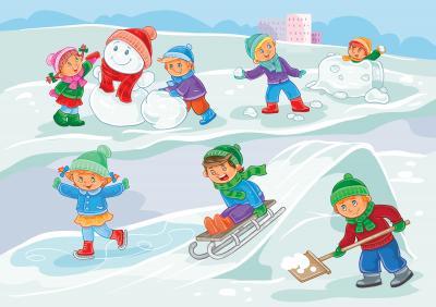 Fototapeta Vector illustration of little children playing outdoors in winter