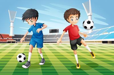 Fototapeta Boys playing soccer in the field illustration