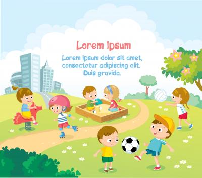 Fototapeta Children playing outdoors with bright summer background