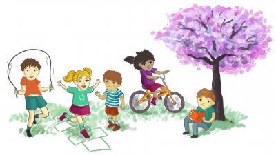 Fototapeta Children playing in the park