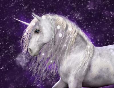 Fototapeta A beautiful white unicorn with silvery mane that has sparkling snow flakes in it