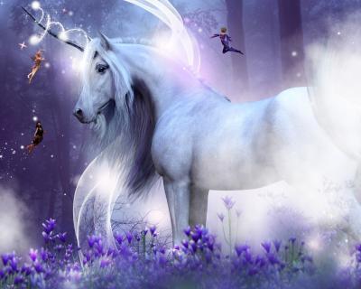 Fototapeta A majestic unicorn with three little fairies sending magic sparkles
