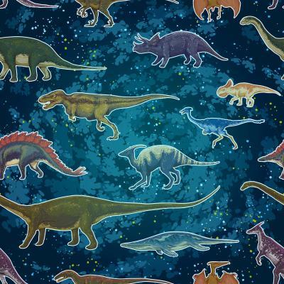 Fototapeta Diplodocus Tyrannosaurus Rex Pterodactylus... in seamless pattern, hand drawn vector illustration