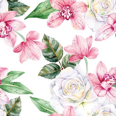 Tapeta Pink orchids and white roses