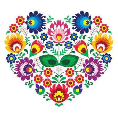 Fototapeta Polish folk art art heart embroidery with flowers
