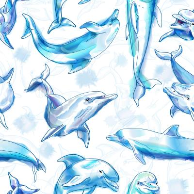 Tapeta Dolphins imitation of watercolor