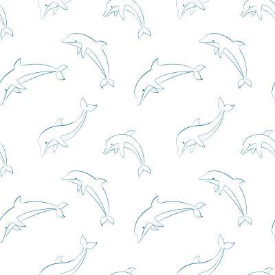 Tapeta Jumping dolphins contour seamless pattern