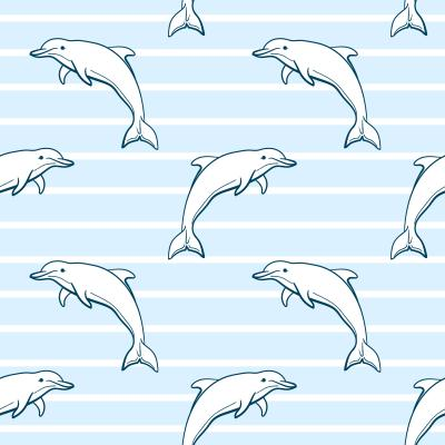 Tapeta Seamless sea pattern made from hand drawn dolphins on blue striped background