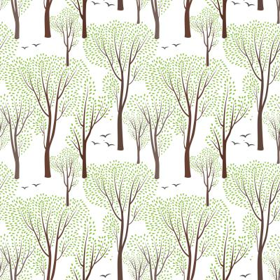 Tapeta Spring nature wildlife seamless pattern Blooming trees background Plant with leaves
