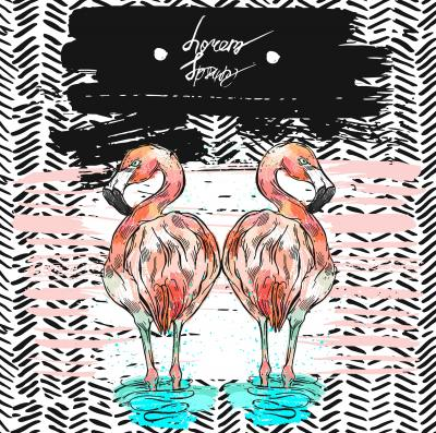 Fototapeta Hand drawn vector abstract summer card with mirror reflection of flamingo