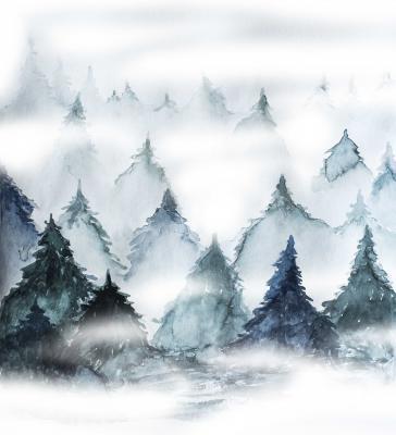 Obraz Hand drawn stylized grunge forest