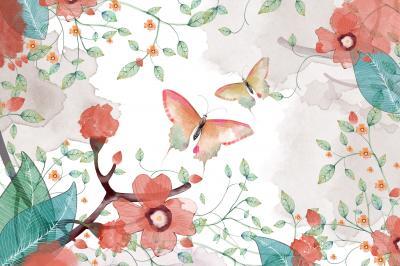 Fototapeta Creative Illustration and Innovative Art Butterfly Flower and Leaves