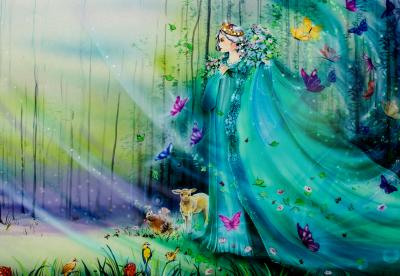 Fototapeta Scenic view of fantasy world with fairies and ethereal animals