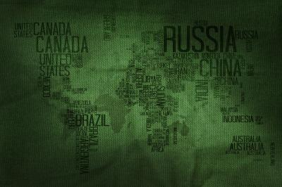 Countries name typography world map on military fabric texture background