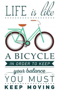 Plakat Inspirational and encouraging quote vector poster with bicycle