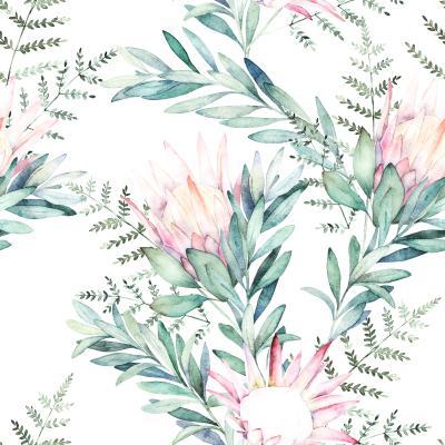 Naklejka Watercolor seamless pattern witn eucalyptus branch protea and fern