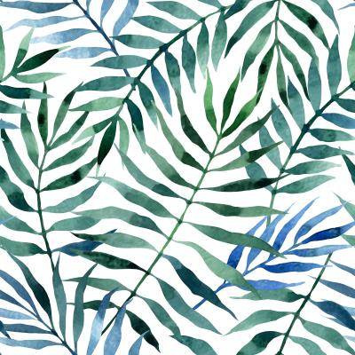 Naklejka Seamless exotic pattern with tropical leaves